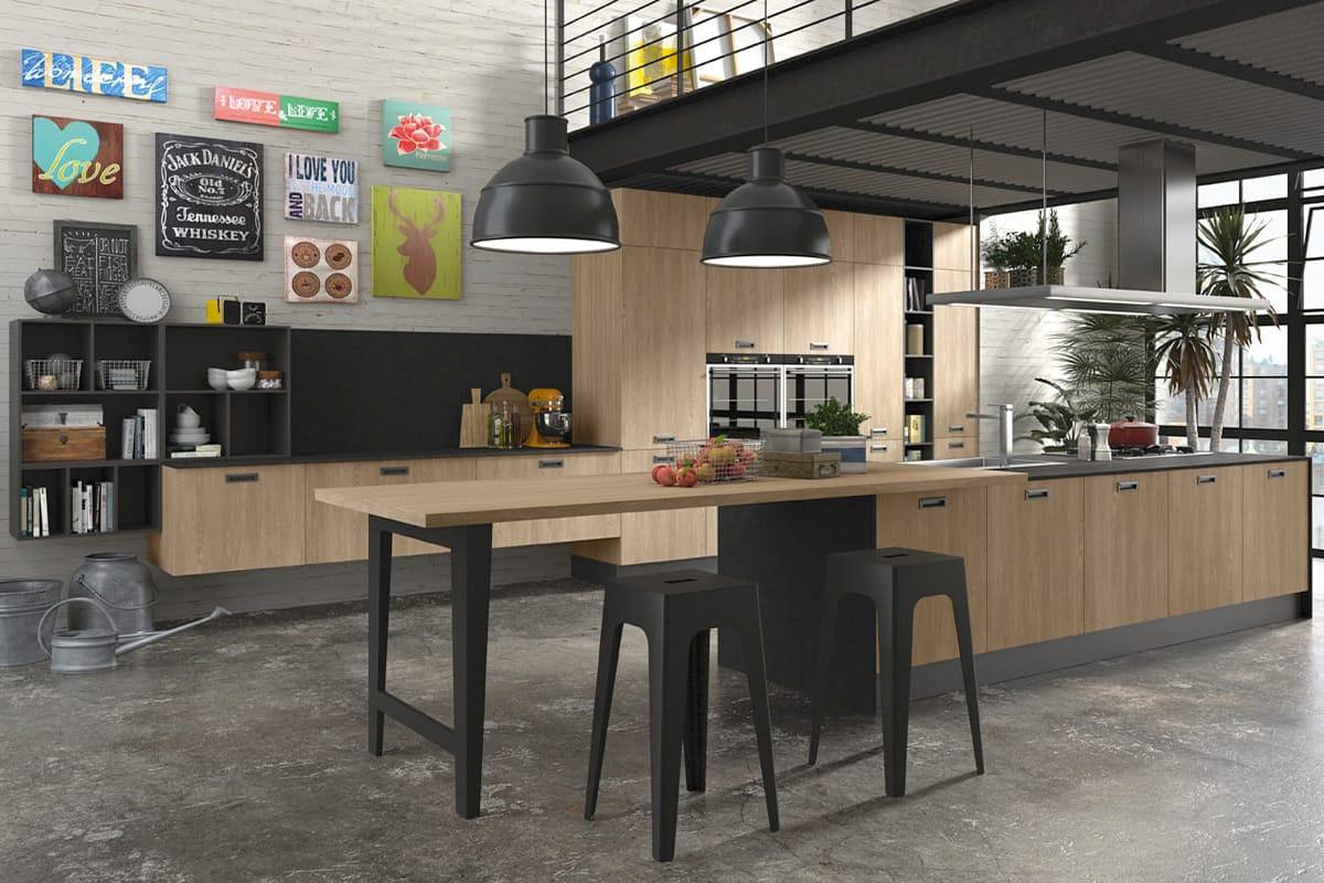 Cucina moderna con penisola in rovere gessato ed ante in melaminico. Arredamento Cucine Componibili CasaStore Salerno.