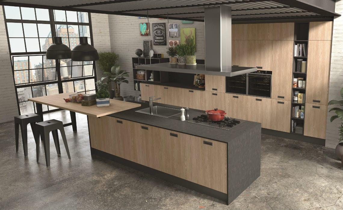 Cucina moderna con penisola dal tocco glamour casastore for Programma per comporre cucine