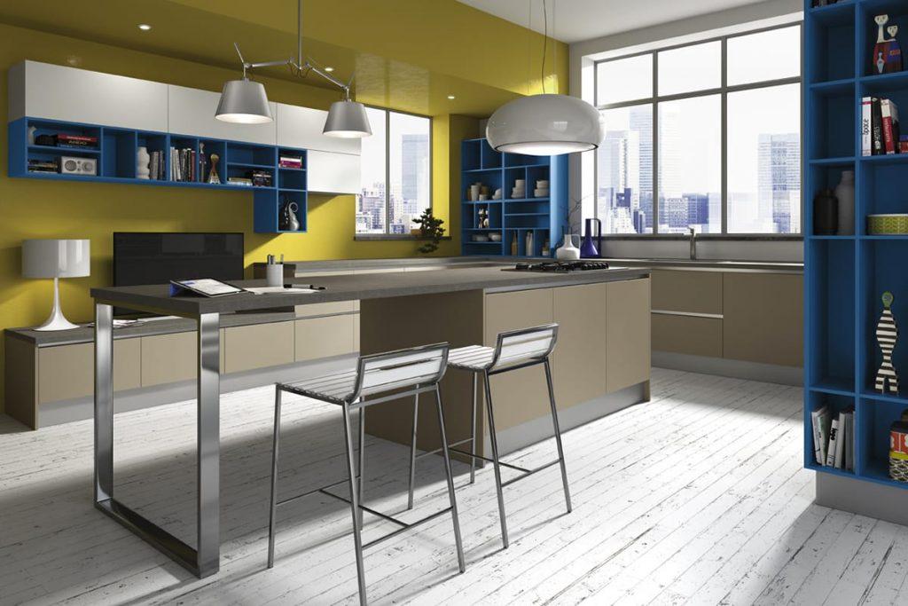 Cucina ad isola ideale per ambiente unico con il living for Isola cucina moderna