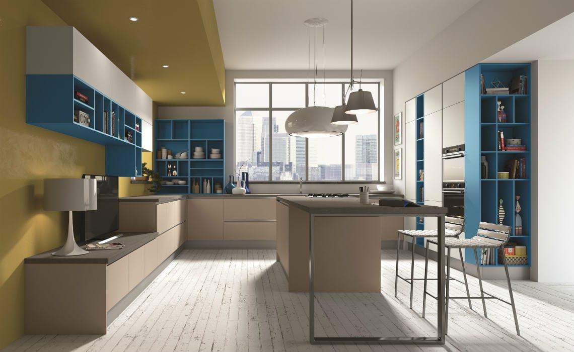 Cucina ad isola ideale per ambiente unico con il living - Cucine moderne gialle ...