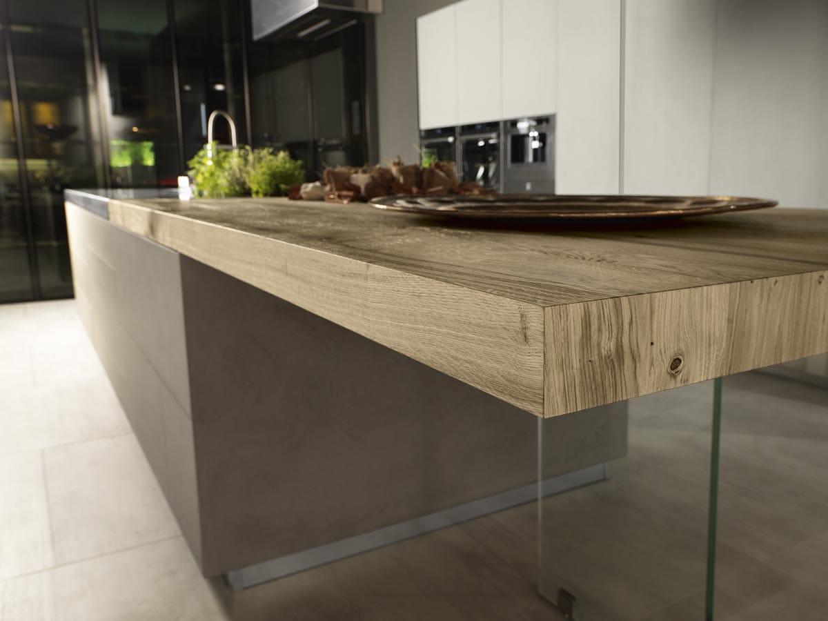 Cucina ad isola in resina di cemento e piano in acciaio - Top cucina in cemento ...