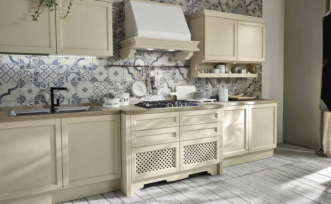Cucina shabby chic nell elegante finitura champagne for Shabby chic cucina