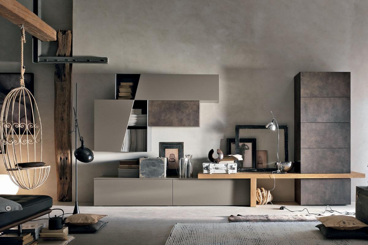 Parete attrezzata moderna con base e pensili in laccato opaco e panca integrata in legno rovere nodato. Arredamento Soggiorno CasaStore Salerno.