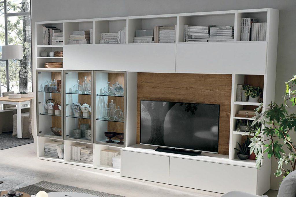Libreria a035 moderna con vetrine illuminate casa store for Librerie componibili moderne