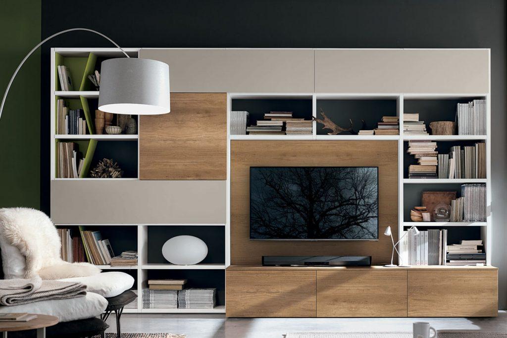 Libreria a036 con base porta tv casa store salerno for Librerie componibili moderne