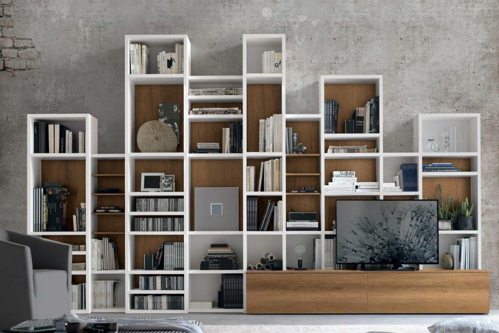 Librerie Per Arredare Soggiorno.Libreria A037 Moderna Con Scaffali Modulari Casa Store Salerno