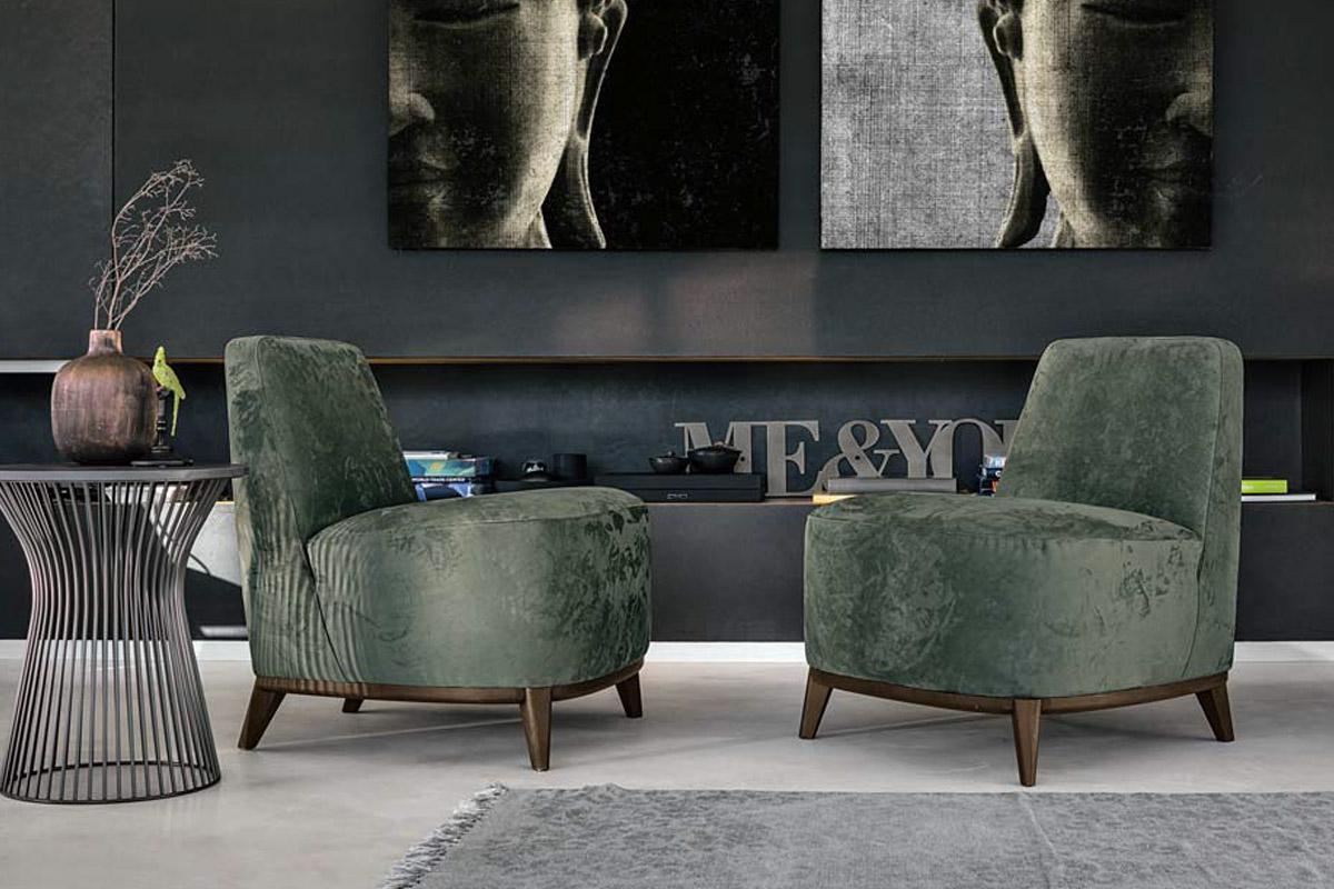 Poltrona LOFT con rivestimento in nabuk e ampia seduta. Ideale per un angolo lettura in soggiorno.- Poltrone e poltroncine dal design Moderno CasaStore Salerno.