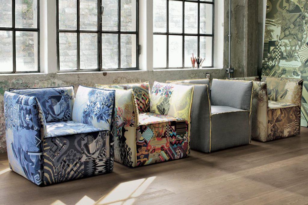 FLOWER: poltrona o divano componibile con rivestimento in tessuto stampato - Poltrone e divani trasformabili dal design Moderno CasaStore Salerno.