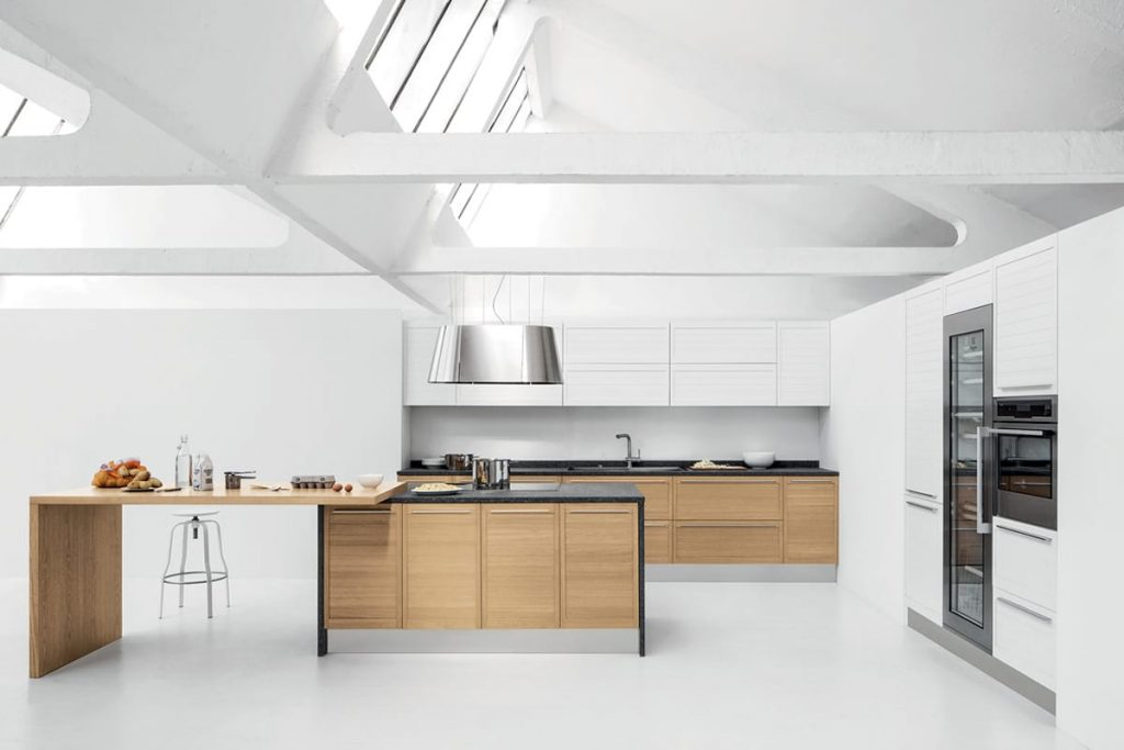 Cucina componibile moderna ante e piano snack in rovere top in porfido - Top x cucine ...