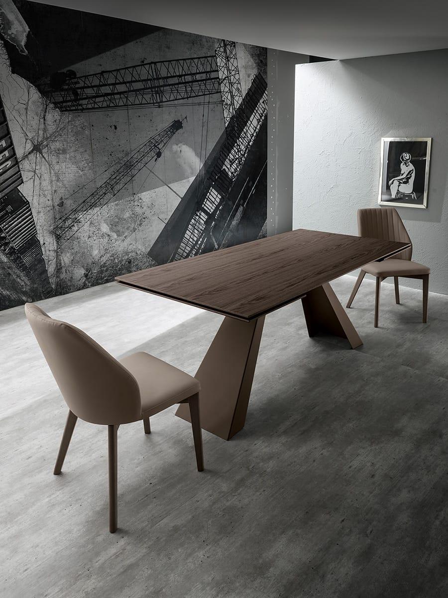 Tavolo allungabile in rovere e gambe in metallo - Tavolo allungabile con sedie ...