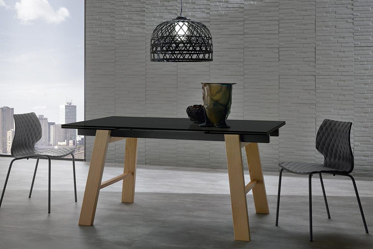 Tavolo allungabile in vetroceramica e legno massello - CasaStore ...