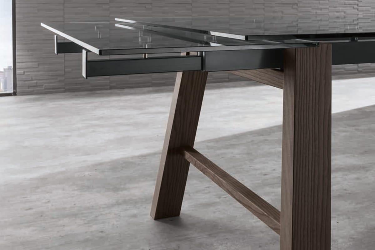 Tavolo allungabile in vetroceramica e legno massello - CasaStore Salerno