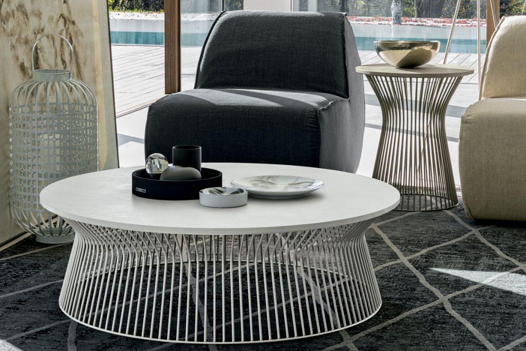 Tavolino da salotto BRIGITTE Tomasella: serie di tavolini da soggiorno con struttura in metallo e piano in legno o laccati. CasaStore Salerno