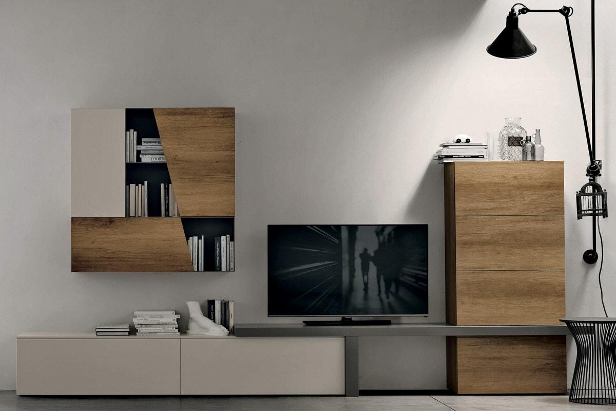 Parete attrezzata a058 pareti attrezzate di design salerno casastore - Pareti attrezzate design ...
