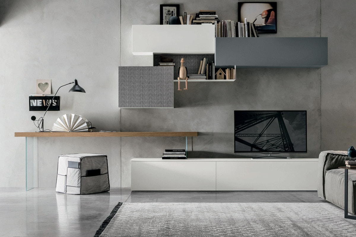 Parete attrezzata a054 mobili soggiorno moderno for Pareti colorate moderne