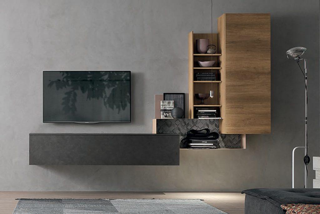 Parete attrezzata sospesa dal design ultra compatto for Immagini living moderni