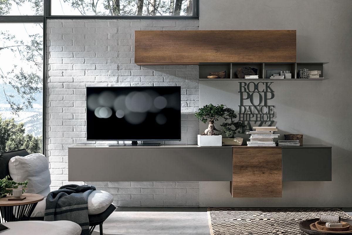 Parete attrezzata a017 con basi e pensili sospesi arredamento soggiorno - Pareti attrezzate design ...