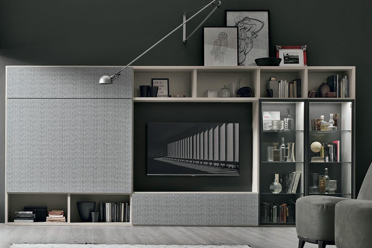 Libreria A051 con ante scorrevoli, modulo porta TV e vetrina illuminata. Mobili moderni per il soggiorno, CasaStore Salerno.