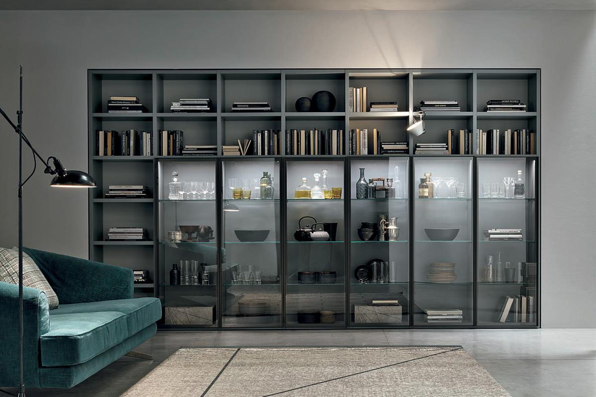 Libreria modulare con vani a giorno e colonne vetrina con sistema di illuminazione integrato. Arredamento Moderno - Mobili per il Soggiorno - CasaStore Salerno