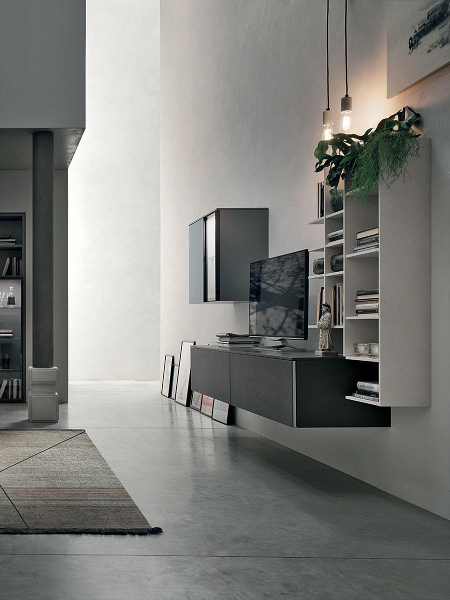 A052 parete attrezzata con mobile porta tv e libreria sospesa casastore - Parete attrezzata bagno ...