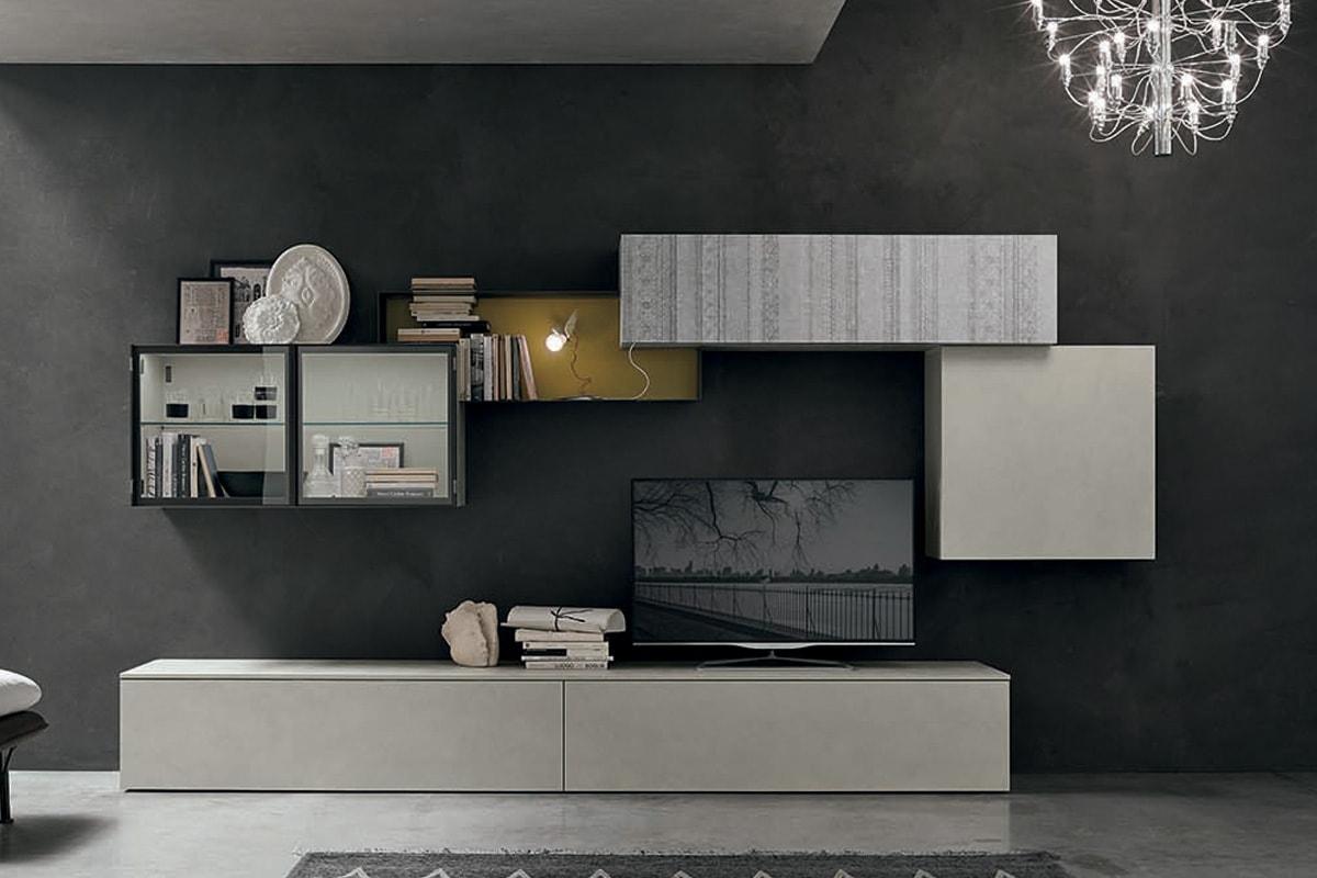 Parete attrezzata A059 - mobili moderni per il soggiorno - CasaStore Mobilificio Salerno