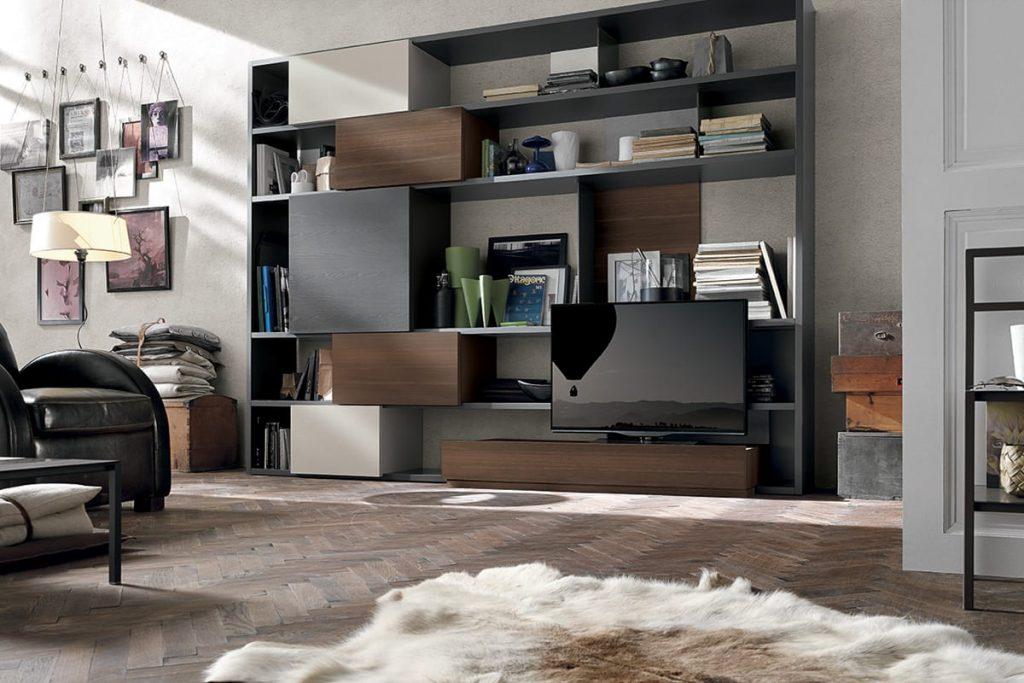 Libreria Componibile per il soggiorno con mobile porta TV, scaffali ed elementi contenitori. Mobili Soggiorno Moderni CasaStore Salerno.