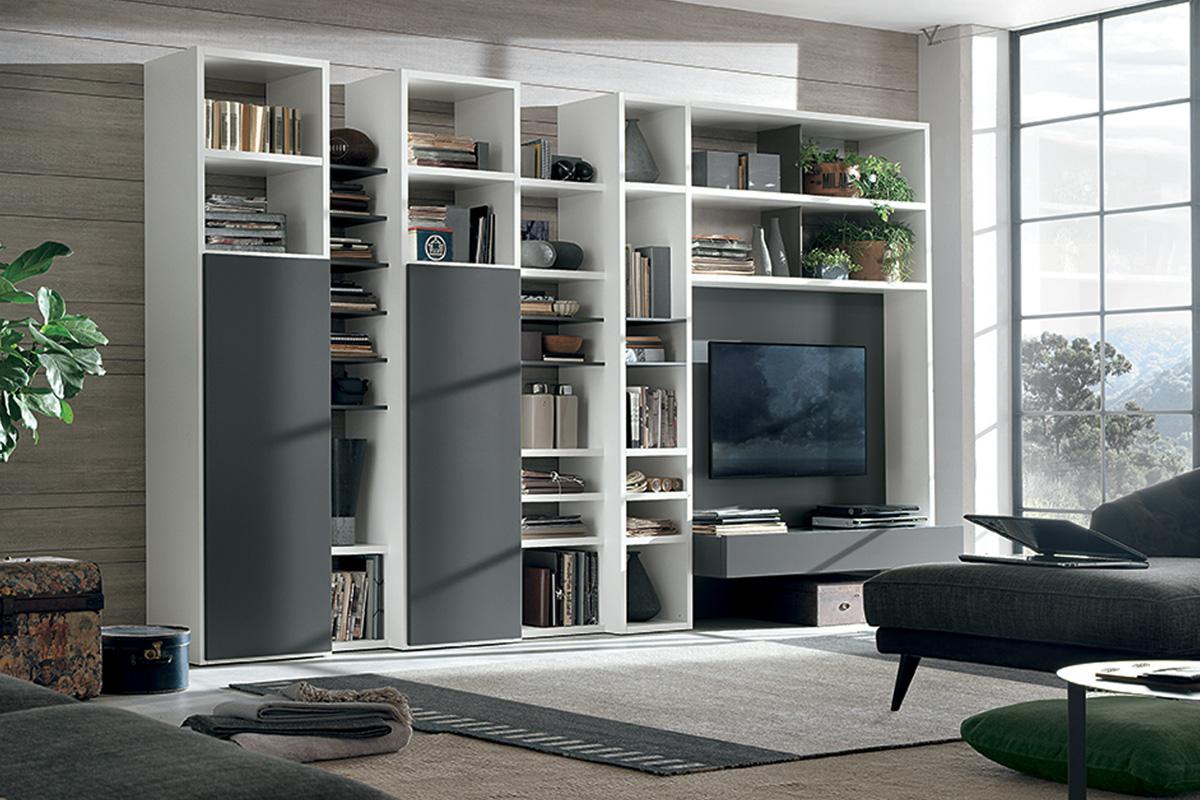 Libreria a025 con colonne attrezzate e vano porta tv for Pareti tv moderne