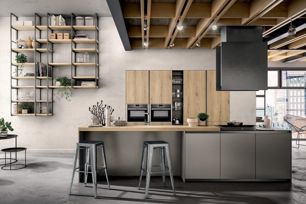 Cucina Componibile con colonne e piano snack in rovere / CasaStore