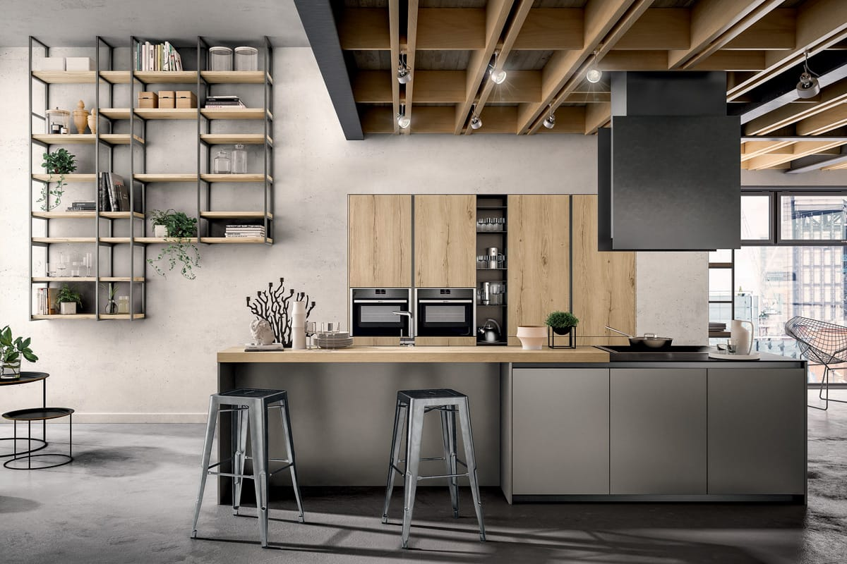 Famoso Cucina Componibile con colonne e piano snack in rovere / CasaStore VE81