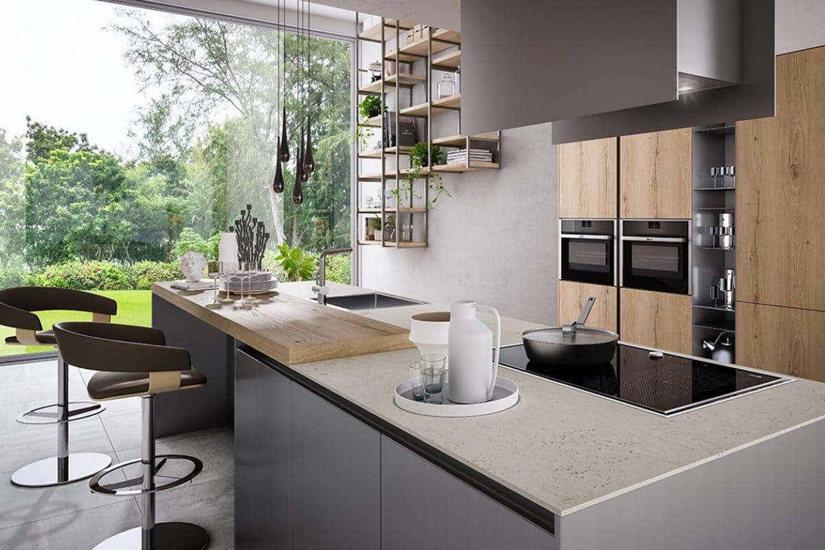 Cucina Componibile con colonne e piano snack in rovere / CasaStore