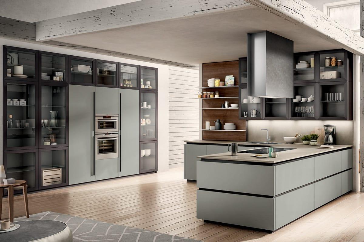 Cucina moderna con penisola colonne attrezzate e boiserie - Cucina con penisola centrale ...
