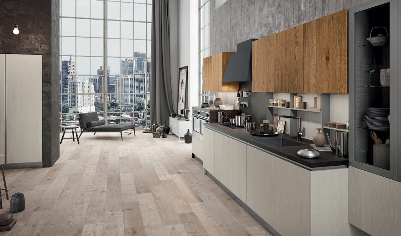 Cucina lineare a parete dal look industriale cucine - Cucina a parete ...