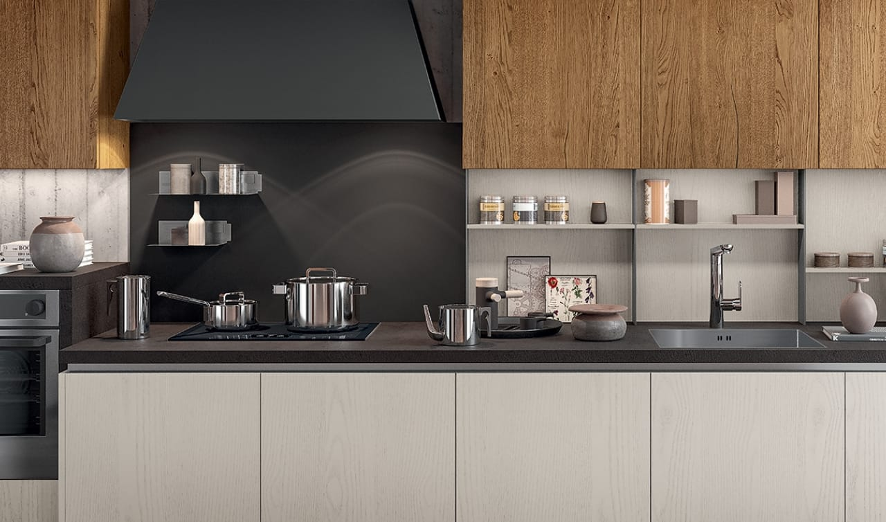 Cucina lineare a parete dal look industriale cucine for Rivenditori arredo 3