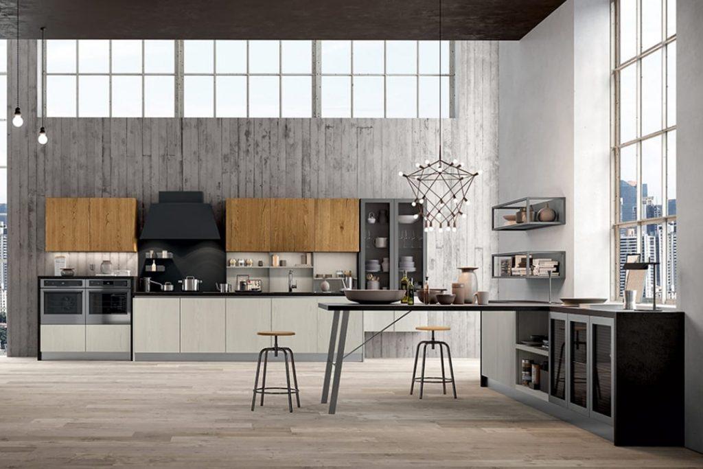 Cucina lineare a parete dal look industriale | Cucine ...