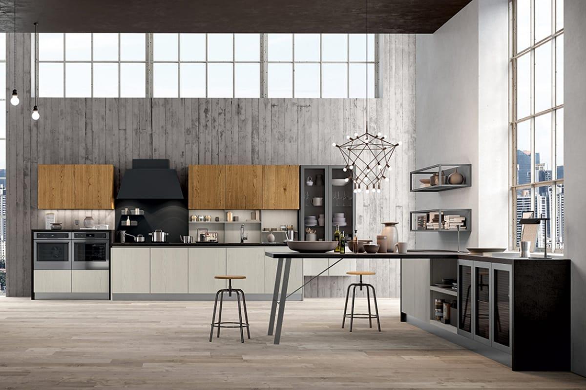 Cucina lineare a parete dal look industriale cucine for Arredamento industriale ikea