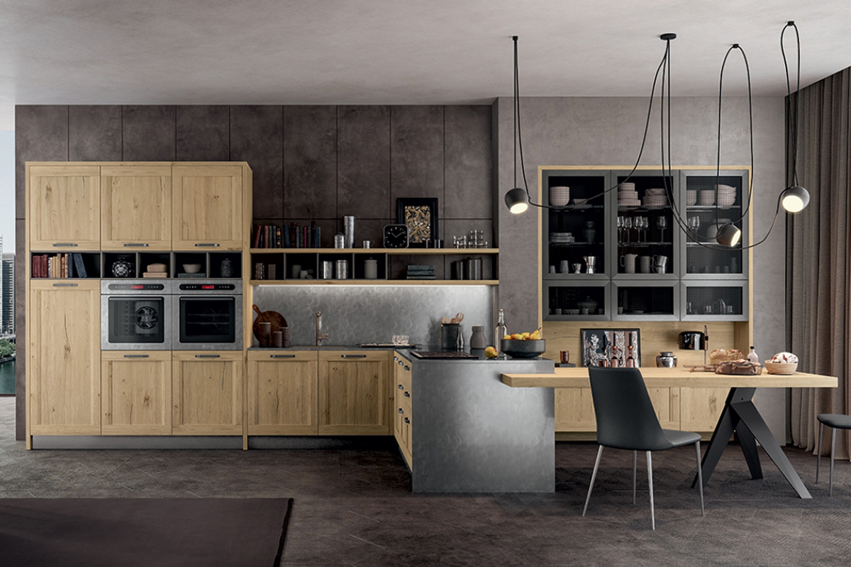 Cucina stile Industrial Chic con penisola e tavolo integrato - Cucine Moderne - CasaStore Salerno