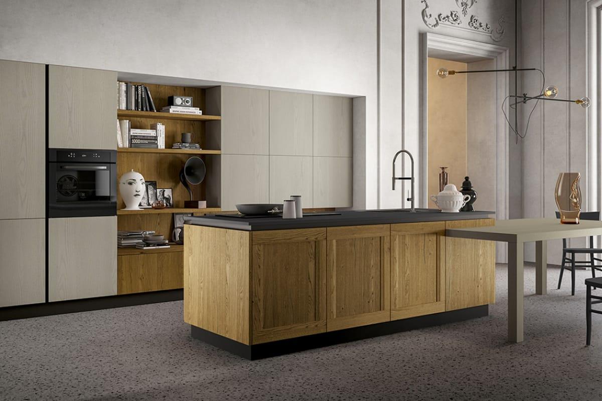 Cucina stile Vintage con isola e tavolo integrato - Cucine Moderne - CasaStore Salerno
