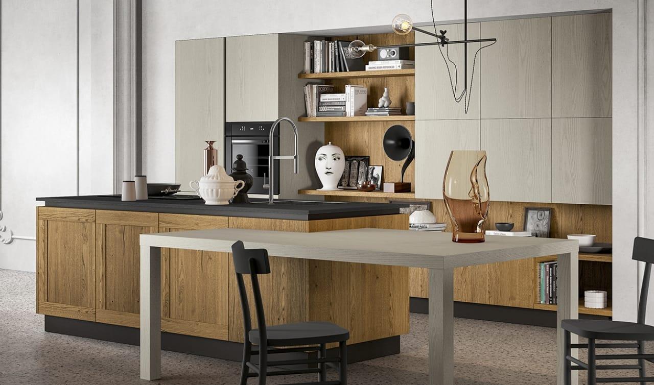 Cucina stile vintage con isola e tavolo integrato for Programma per cucine