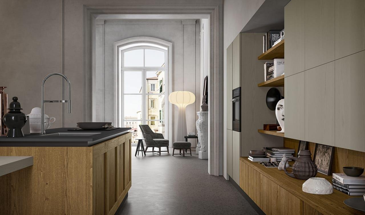 Cucina stile vintage con isola e tavolo integrato - Cucina stile vintage ...