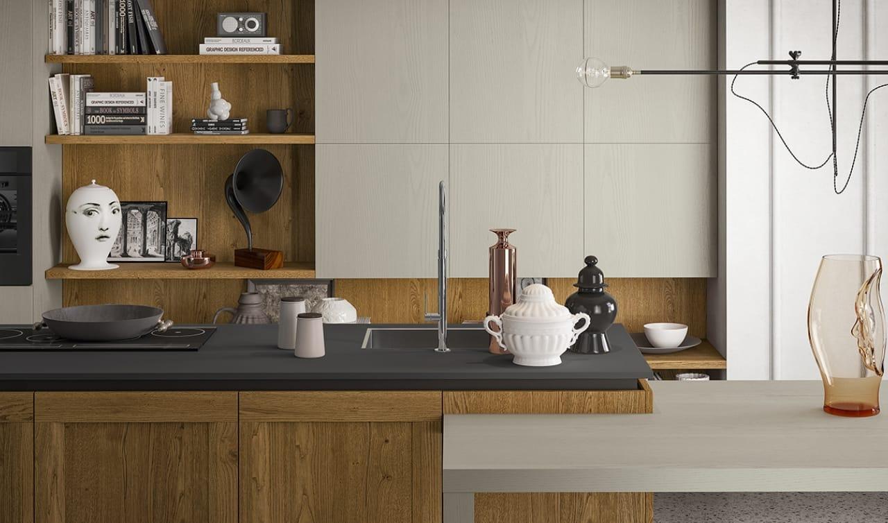 Cucina stile vintage con isola e tavolo integrato casastore salerno - Tavolo isola cucina ...
