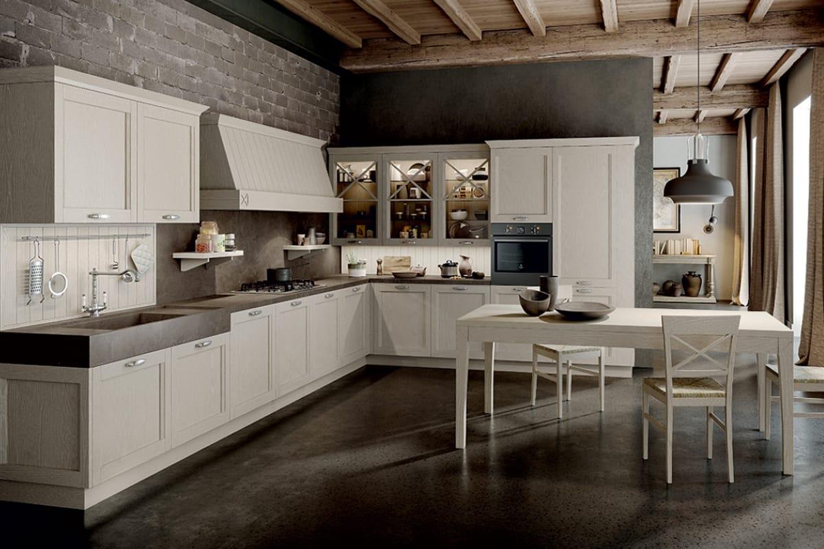 Cucina ad angolo in qutentico stile Shabby Chic. Cucine Shabby e Country in esposizione a Salerno da CasaStore.