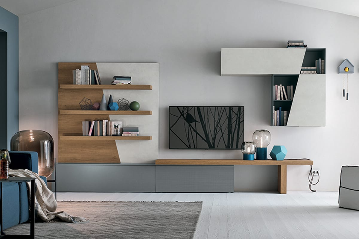 Parete attrezzata a064 composizione soggiorno in stile nordico - Arredamento parete soggiorno ...