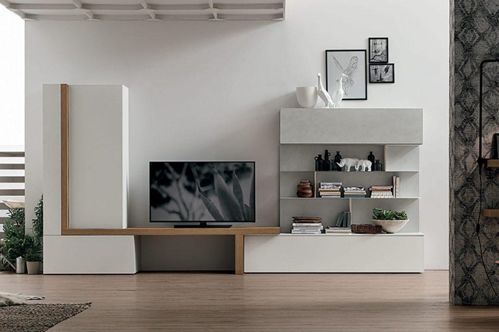 Pareti A Giorno Moderne.Parete Attrezzata A077 Soggiorno Moderno Con Porta Tv E Libreria