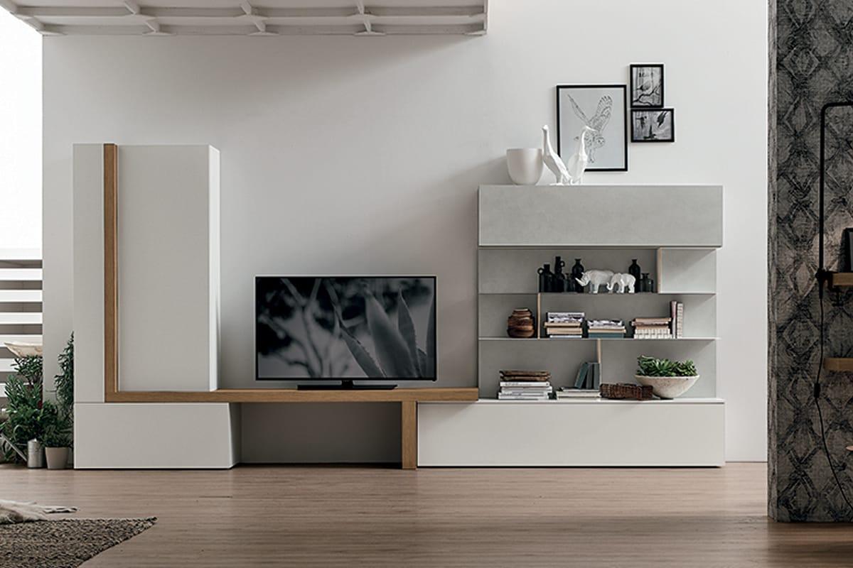 Parete attrezzata a077 soggiorno moderno con porta tv e libreria - Arredamento parete soggiorno ...