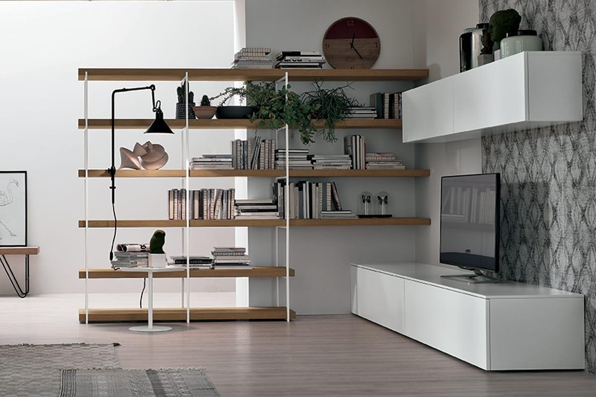 Parete attrezzata A076 con mobile Porta-TV, Pensili sospesi e libreria angolare - Soggiorni Moderni Salerno - CasaStore