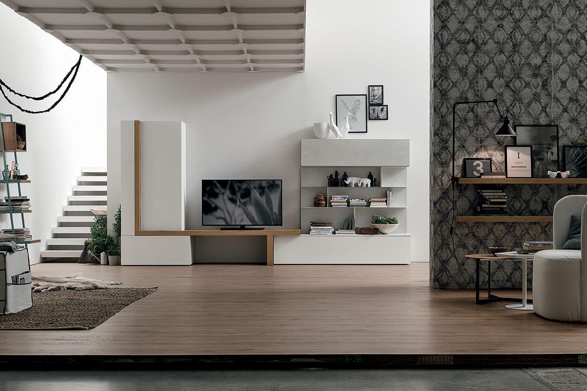Parete attrezzata A077 | Soggiorno moderno con porta TV e libreria