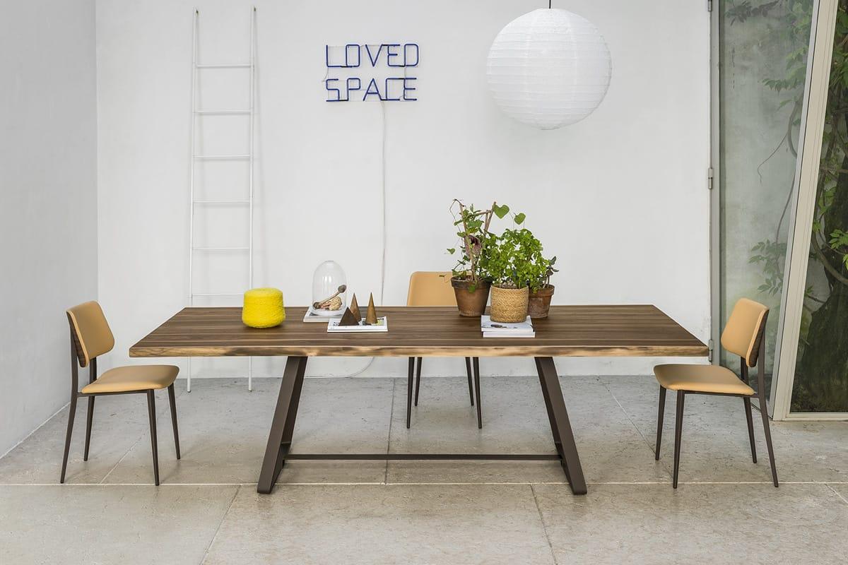 Tavolo da pranzo in legno e acciaio: il modello Alfred è disponibile in 4 misure differenti - Tavoli moderni e di design a Salerno - CasaStore