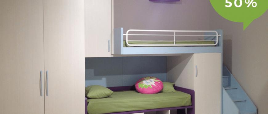 Cameretta Salvaspazio con soppalco, doppio letto ed armadio. Offerta con Sconto del 50% per rinnovo esposizione. Camerette per bambini e ragazzi CasaStore Salerno.