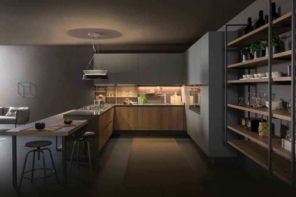 Cucina Componibile angolare con maniglia integrata nell\'anta effetto ...