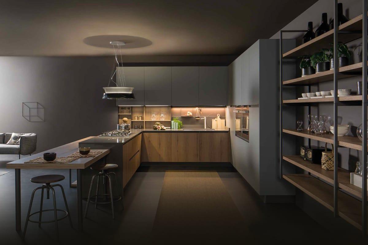 Cucina componibile moderna - Composizione angolare con maniglia integrata nell'anta effetto gola. Cucine Moderne di design CasaStore Salerno.